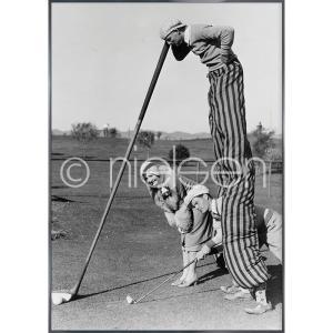 """Beeld met lijst """"Golfer"""" met lijst van aluminium Alpha"""