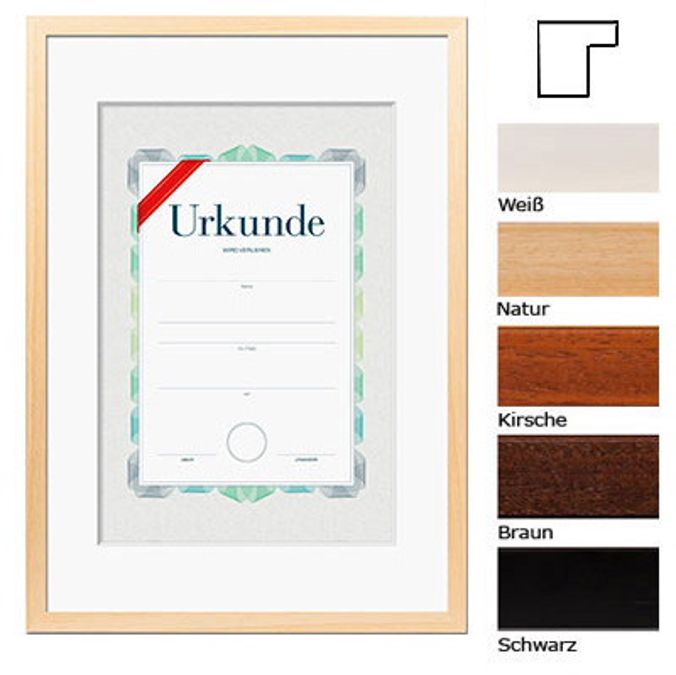 Lijst van hout met certificaat, DIN A3