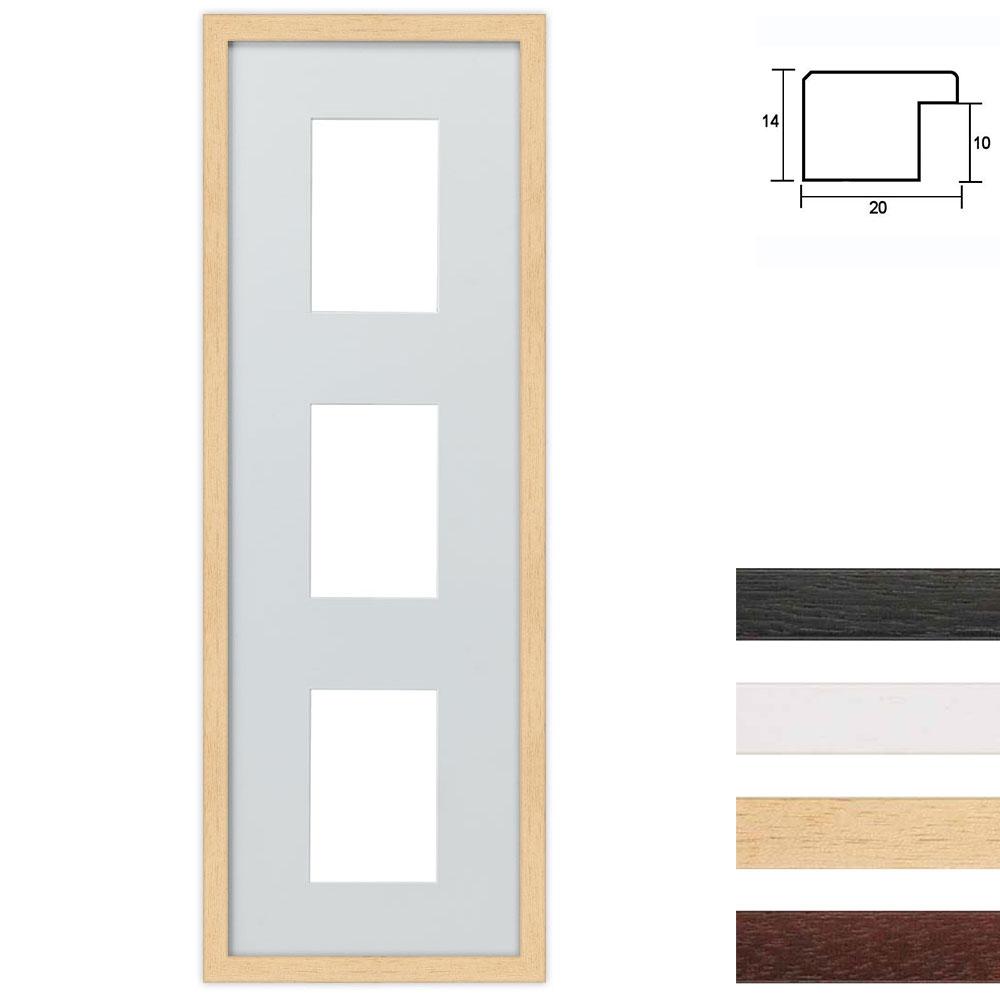 3 Foto's Galerij lijst van hout 23x70 cm