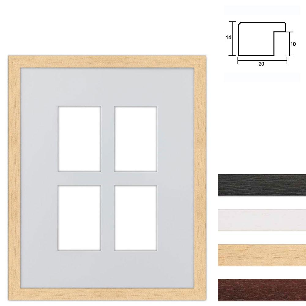 4 Foto's Galerij lijst van hout 40x50 cm