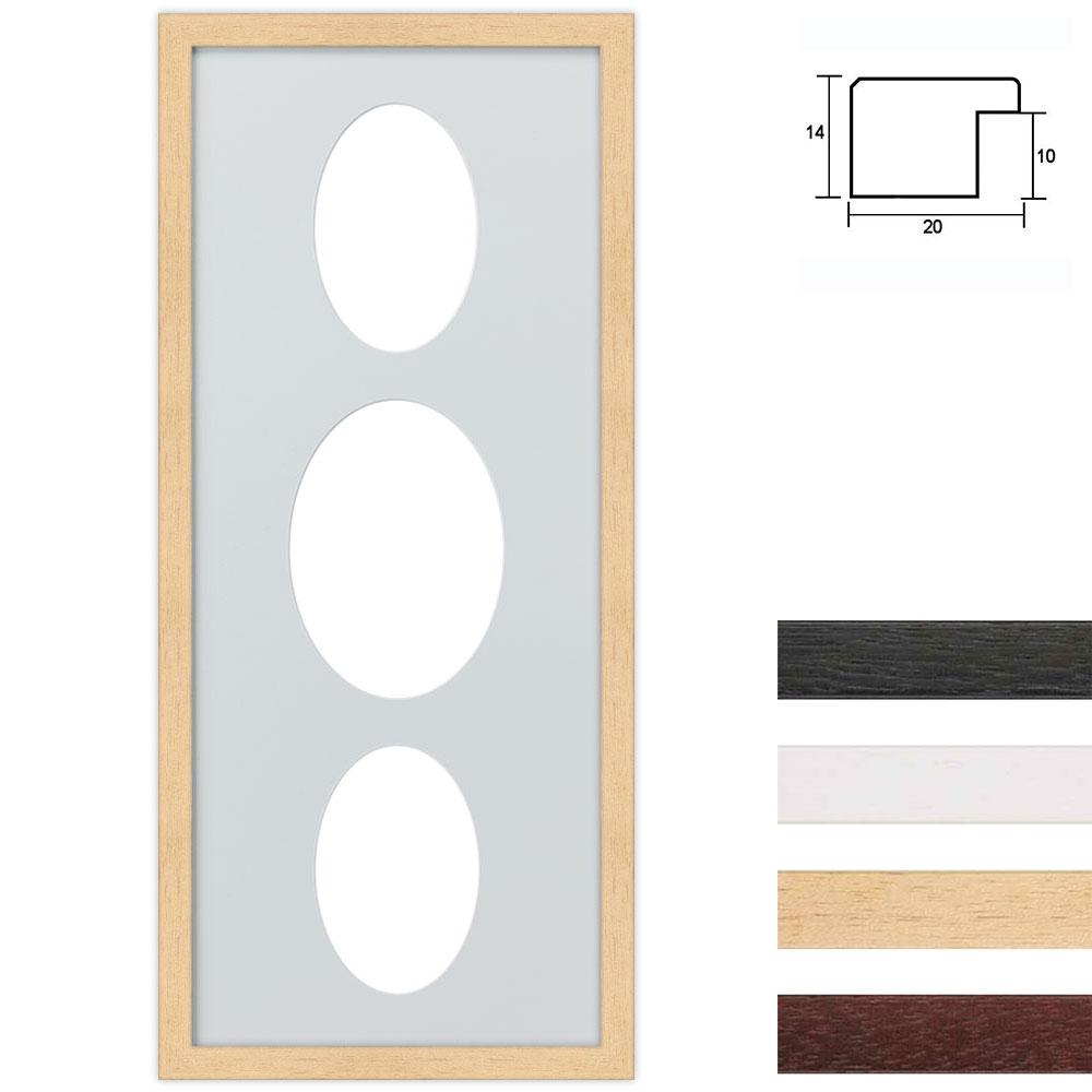 3 Foto's Galerij lijst van hout 25x60 cm ovale knipsel