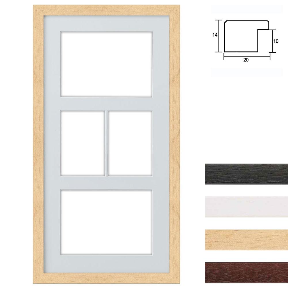 4 Foto's Galerij lijst van hout 25x50 cm