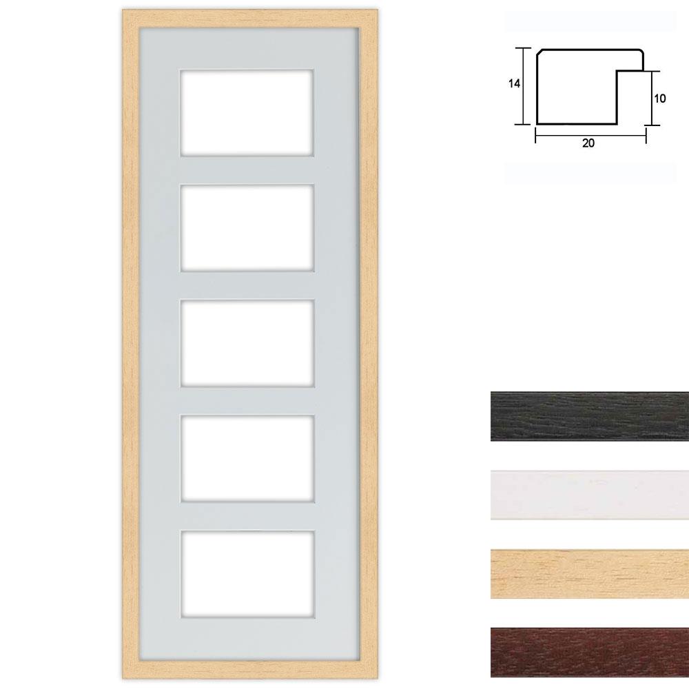 5 Foto's Galerij lijst van hout 25x70 cm