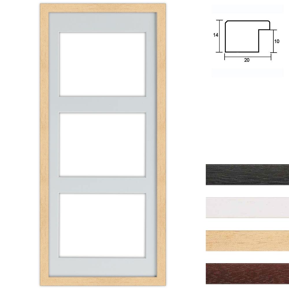 3 Foto's Galerij lijst van hout 25x60 cm