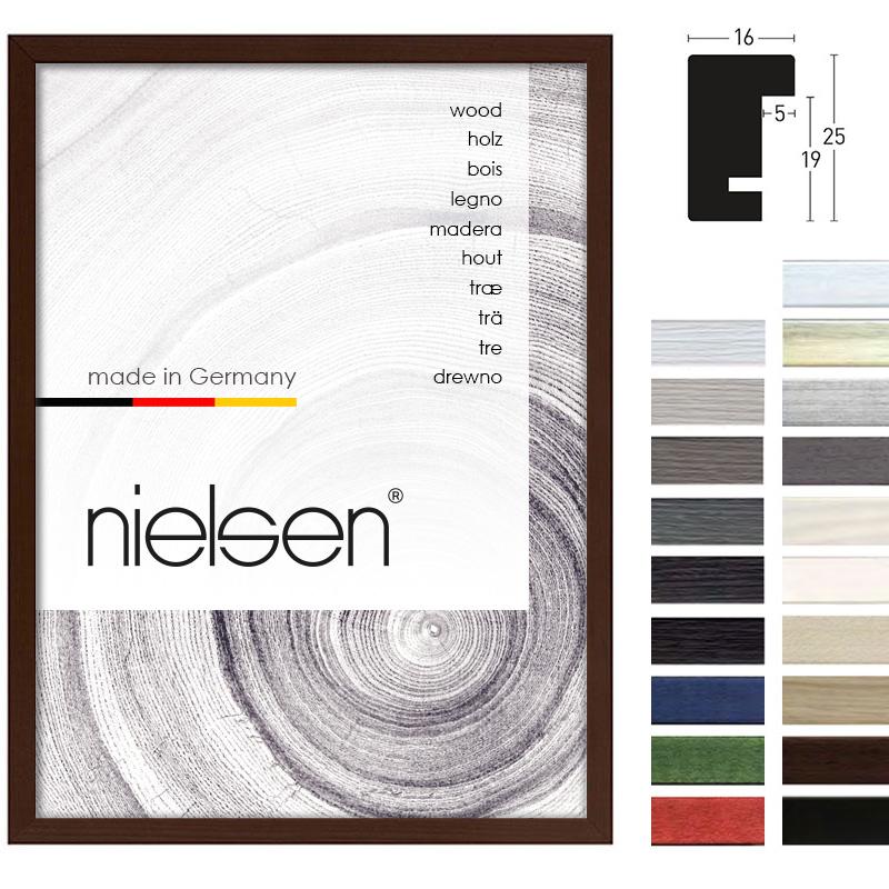 Lijst van hout Quadrum 16x25 21x29,7 cm (A4) | nootbruin | normaalglas