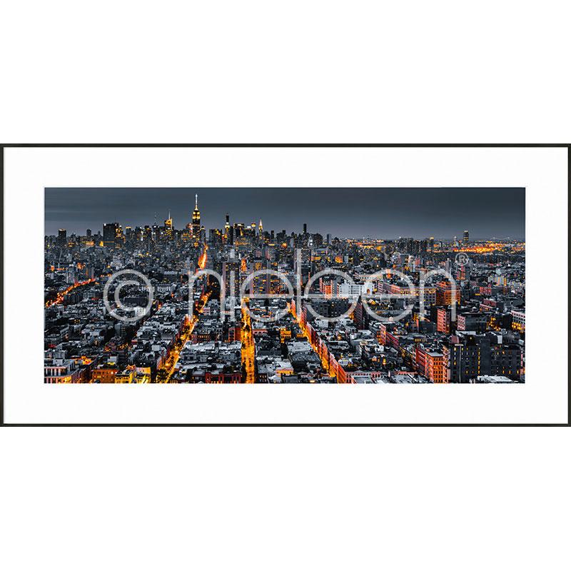 """Beeld met lijst """"New York Skyline"""" met lijst van aluminium C2"""