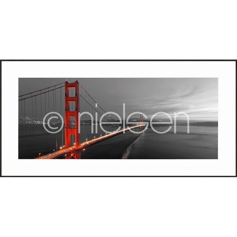 """Beeld met lijst """"Golden Gate Bridge"""" met lijst van aluminium C2"""