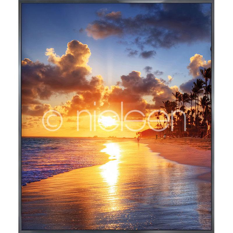 """Beeld met lijst """"Sunset Beach"""" met lijst van aluminium Alpha"""