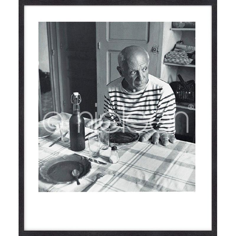 """Beeld met lijst """"Les pains de Picasso 1985"""" met lijst van hout Quadrum"""
