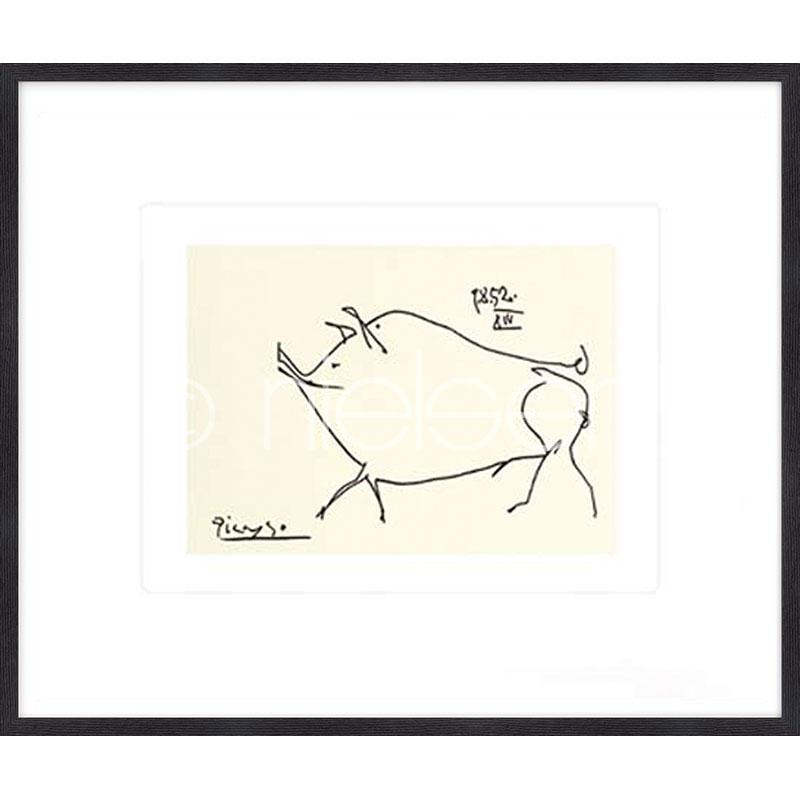 """Beeld met lijst """"Le petit cochon Picasso"""" met lijst van hout Quadrum"""