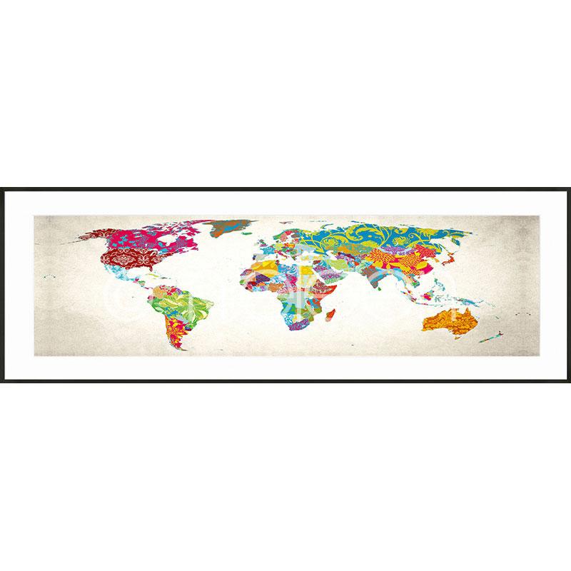 """Beeld met lijst """"World Map"""" met lijst van aluminium C2"""