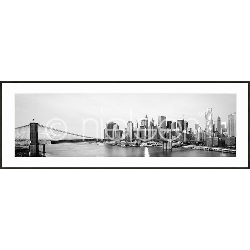 """Beeld met lijst """"New York City Skyline"""" met lijst van aluminium C2"""