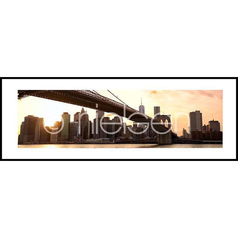 """Beeld met lijst """"Brooklyn Bridge Sunset"""" met lijst van aluminium C2"""